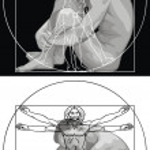 Постер, плакат: Leonardo da Vinci man and man