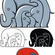 elephant family — Stock Vector