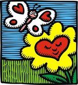 Coração como flor — Vetorial Stock