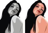 Nice head of nice woman — Cтоковый вектор