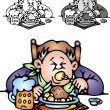Fat man is eating dinner — Imagen vectorial