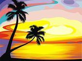 Sun set on the island — Stock Vector