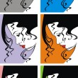 Vector de stock : Fashion girls face and hair in different colors