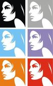 Face of girl in different colors — Stock Vector