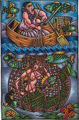 Man is fishing — Stock Vector
