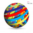 Abstract hollow sphere, color line background — Stock Vector
