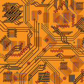 Chip, microcircuit, silicium chip, microchip — Stockvector