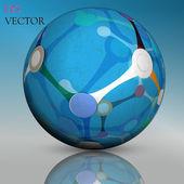 抽象的な中空球、dna、分子 — ストックベクタ