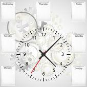 Clock, diary, gears — Stock Vector