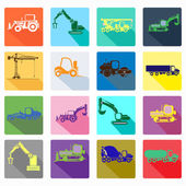 App icon set of construction machinery. Design elements for mobile and web applications. — Stock Vector