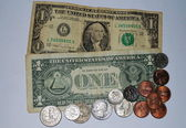 American coins and banknotes — Stock Photo