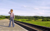 A child is standing on the platform — Stock Photo