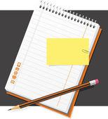 Tužku a blok — Stock vektor