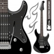 Stock Vector: Black electric guitar