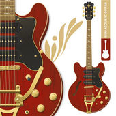 Semi-acoustic guitar — Stock Vector