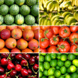 Tropical fruit collage — Stock Photo
