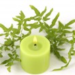 Candle and ivy leaf — Stock Photo