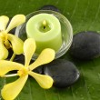 Orchid and stones on banana leaf — Stock Photo