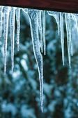 Icicles on the roof — Stock Photo