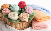Scene with bath towels — Stock Photo