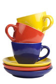 Colorful tea cups and saucers. — Stock Photo