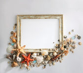 Shabby picture frame with blank space inside, and shells — 图库照片