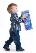 Boy going with big box — Stock Photo