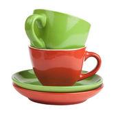 ティーカップとソーサーのスタック — ストック写真