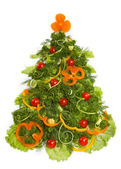 Christmas tree made of different vegetarian food — Stock Photo