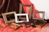 Collection of vintage frame,on textile background — Stockfoto