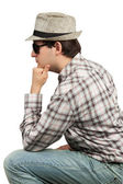 Profile men sitting hat and sunglasses — Stock Photo