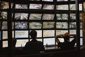 Security guards watching video monitoring — Stock Photo