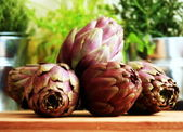 Purple artichokes — Stock Photo