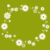 White flower circle border in green background — Stock Photo
