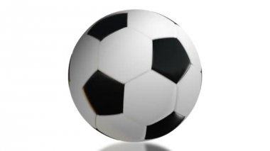 Black and white football, rotation on white background