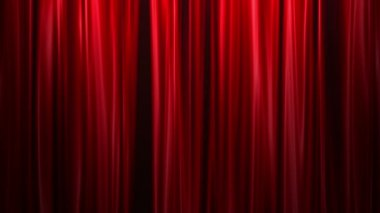 Red Curtains open, white background — Stock Video