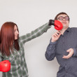 Guy get hit by Girl Boxer — Stock Photo