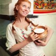 The girl with a milk jug — Stock Photo