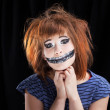 Halloween face art on black background — Stock Photo