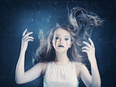 Girl, halloween face art — Stock Photo