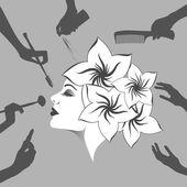 Woman in a beauty salon — Stock Vector