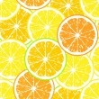 Stock Vector: Seamless pattern of yellow lemon slices - vector illustration