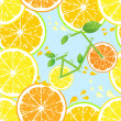 Seamless pattern of yellow lemon slices - vector illustration — Stock Vector #28029231