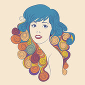 Fashion beautiful woman with long wavy hair — Stock Vector