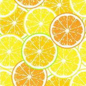 Seamless pattern of yellow lemon slices - vector illustration — Stock Vector