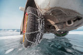 Winter tyres in extreme cold temperature — Stock Photo