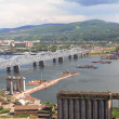 Bridge building through Yenisei — Stock Photo