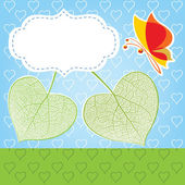 Two leaves in the form of heart, a love symbol — Vector de stock