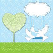 árbol de corazones con dos pájaros — Vector de stock