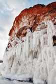 Rocks and icicles — Stock Photo